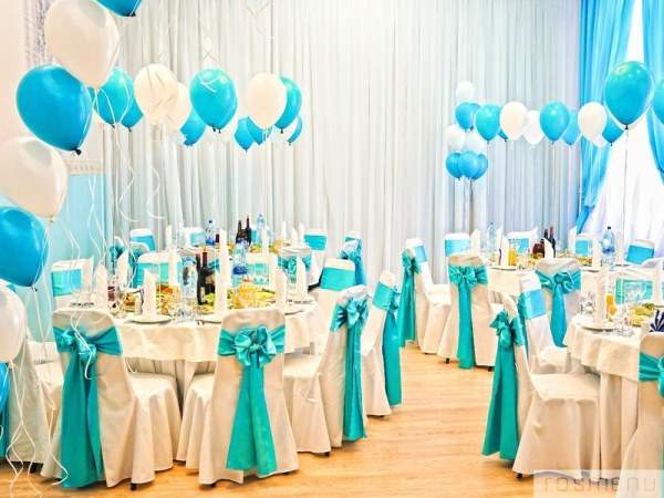 Оформление зала для свадьбы в стиле тиффани